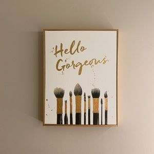 Other - Large gold canvas print 'hello gorgeous'